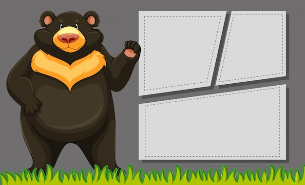 Bear on blank note frame Free Vector