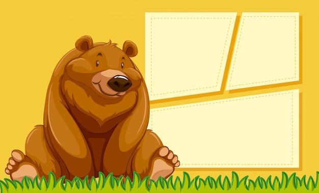 A bear on blank template Free Vector