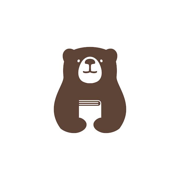 Bear book logo vector icon illustration Premium Vector