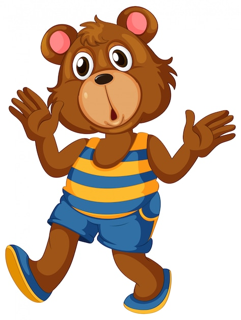 A bear character on white Free Vector