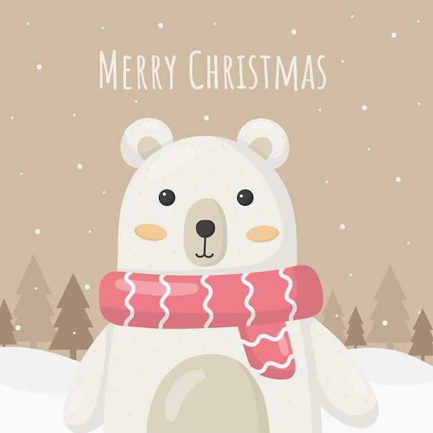 茶色の背景に分離されたクマのクリスマスカード Premiumベクター