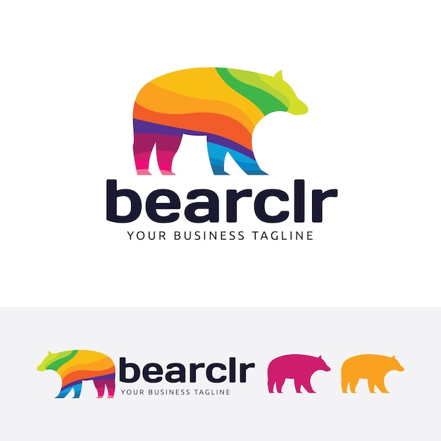 bear colorful logo template vector premium download