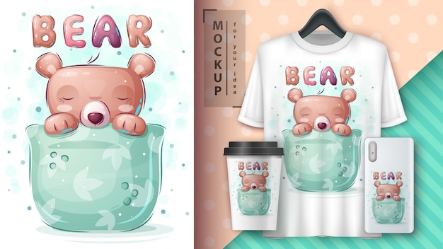 Bear in cup - poster and merchandising Free Vector