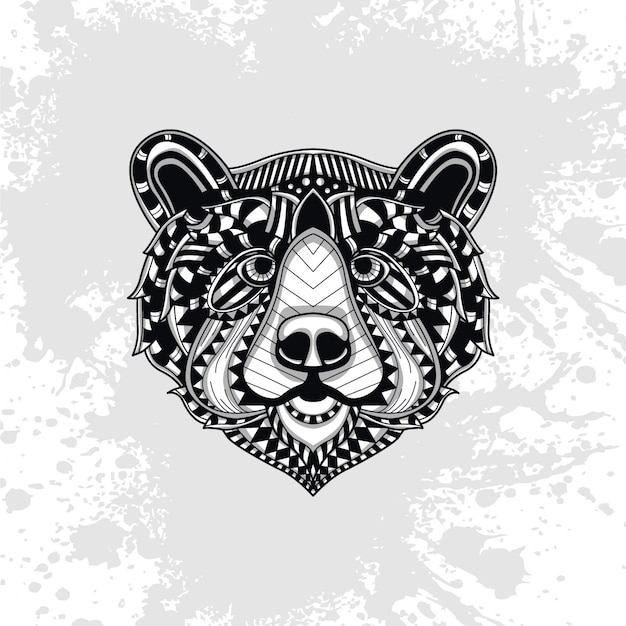 Bear decorated with abstract shapes Premium Vector