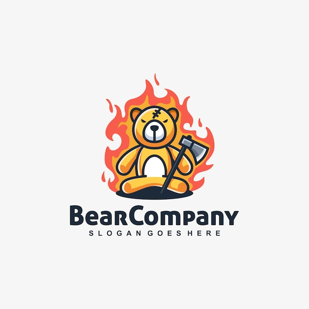 Bear doll angry vector template Premium Vector