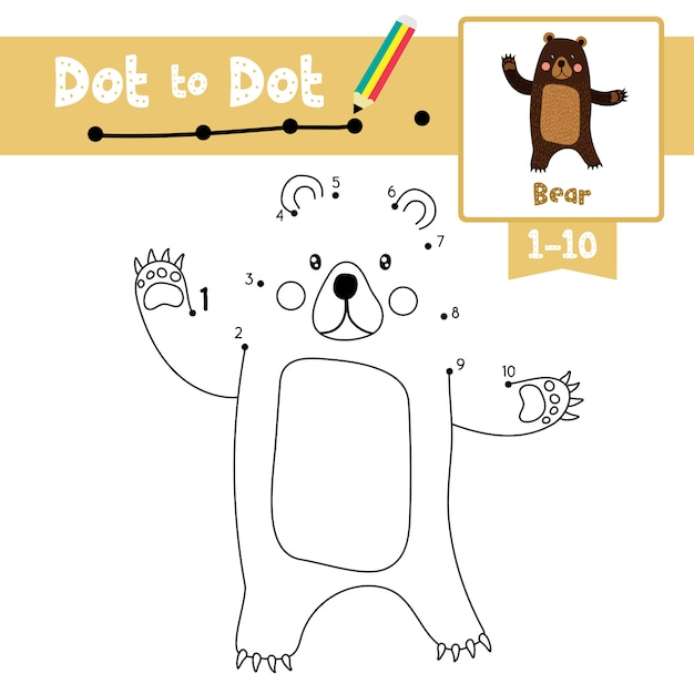 Bear dot to dot game and coloring book Premium Vector