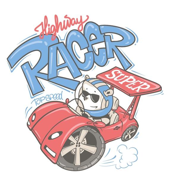 子供や赤ちゃんのシャツのために描かれた車の漫画手描きを運転するクマ。 Premiumベクター