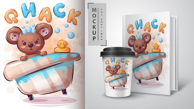 Bear and duck poster and merchandising Premium Vector