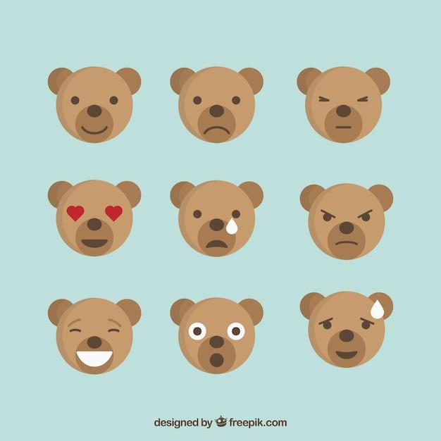Bear emotions icon set, flat style
