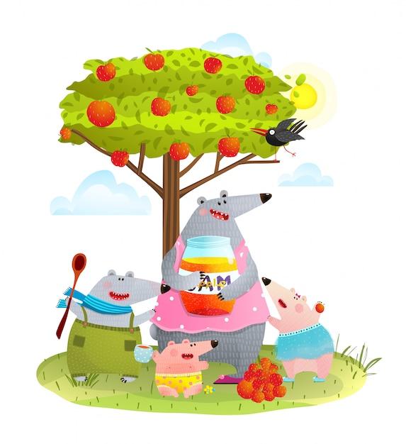 Мама семьи с детьми ест яблочное варенье Premium векторы