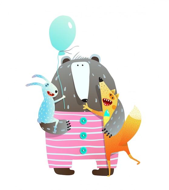 ベアフォックスウサギの休日の友達 Premiumベクター