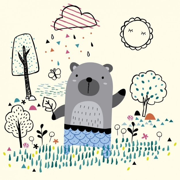 Bear in the garden illustration Free Vector