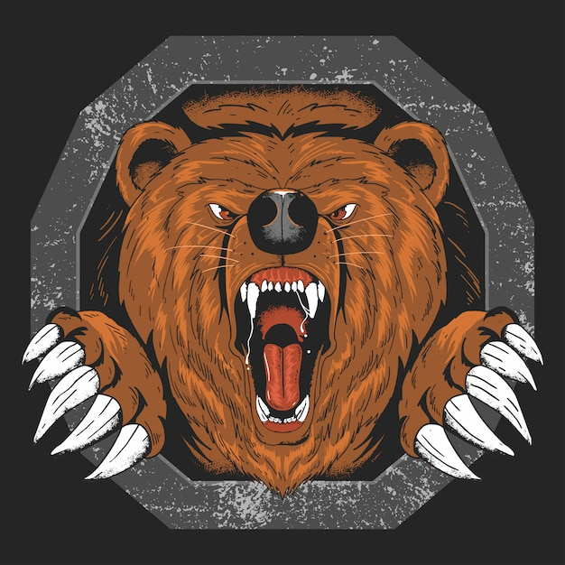 Bear grizzly angry head vector artwork Premium Vector