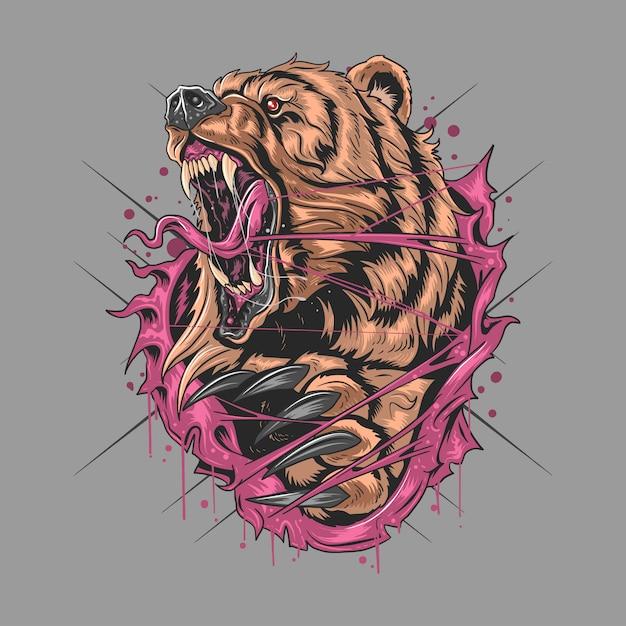 Медведь гризли грэйдли в артворк Premium векторы