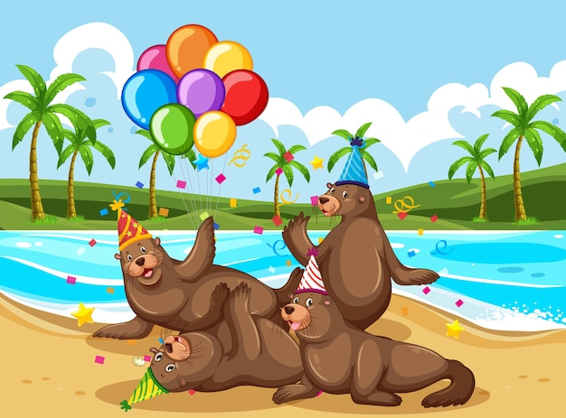 Группа медведей в тематическом мультипликационном персонаже на пляже Бесплатные векторы