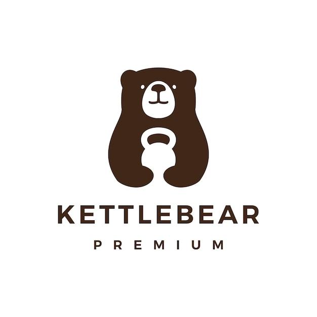 곰 체육관 Kettlebell 피트니스 로고 아이콘 그림 프리미엄 벡터