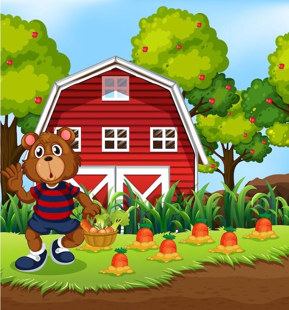 Bear harvest fresh vegetable Free Vector
