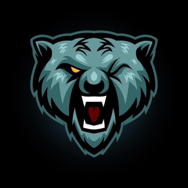 クマの頭eスポーツロゴゲームマスコット Premiumベクター