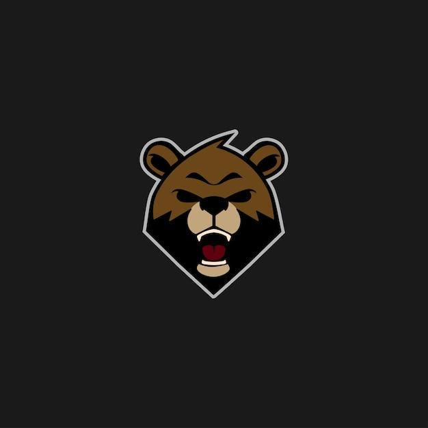 Bear head logo esport emblem Premium Vector