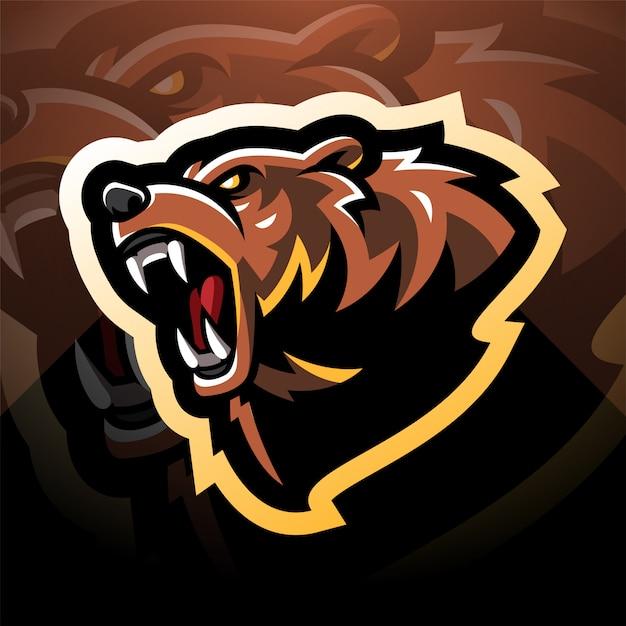 クマの頭のマスコットのロゴデザイン Premiumベクター