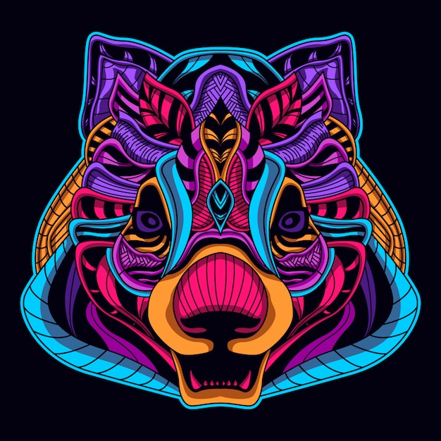 Bear head neon style glow in the dark Premium Vector