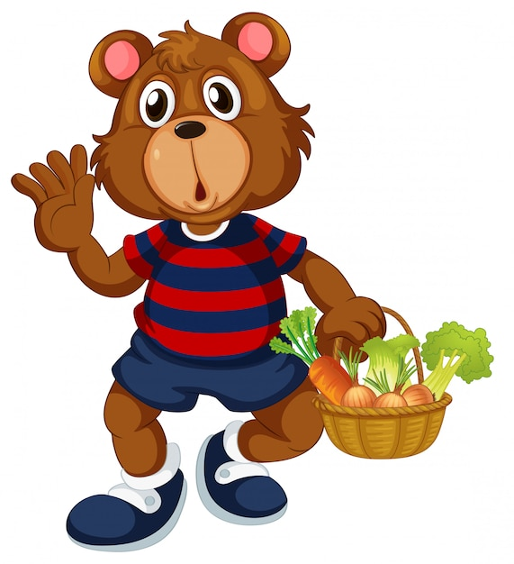 Bear holding basket of vegetable Free Vector