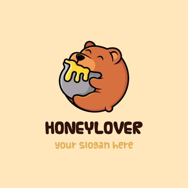 Bear honey lover logo template Premium Vector