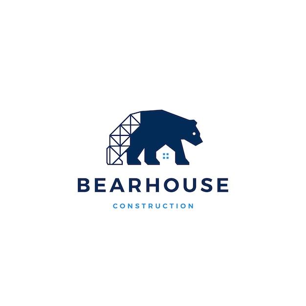 Bear house logo vector icon illustration Premium Vector