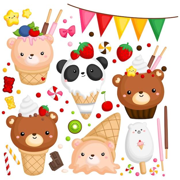 Bear ice cream Premium Vector