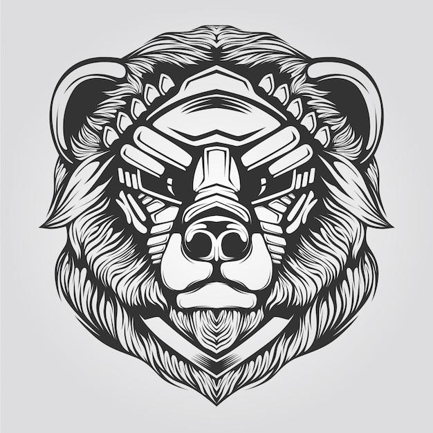 Bear line art black and white Premium Vector