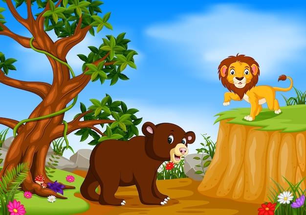 Bear and lion with mountain cliff scene Premium Vector