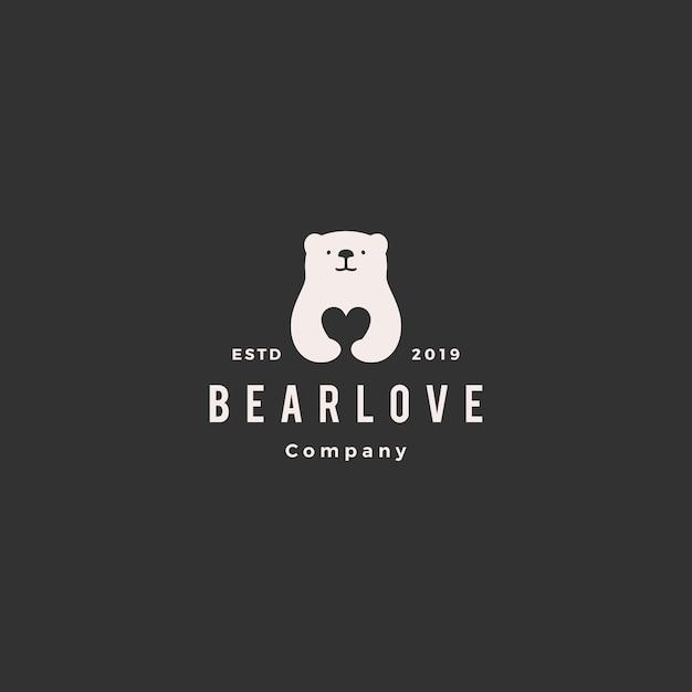 Bear love logo Premium Vector