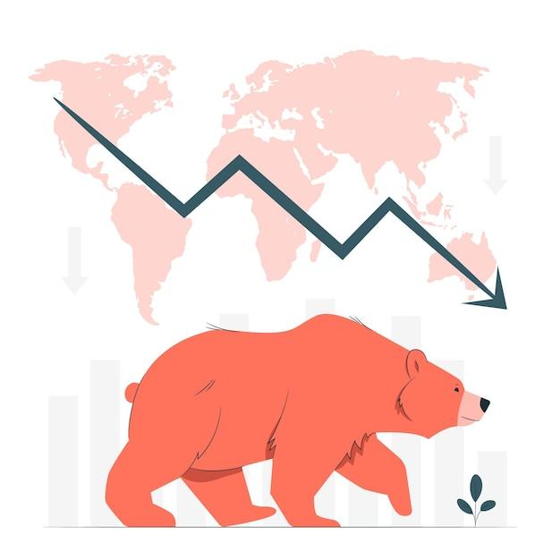 Иллюстрация концепции медвежьего рынка Бесплатные векторы