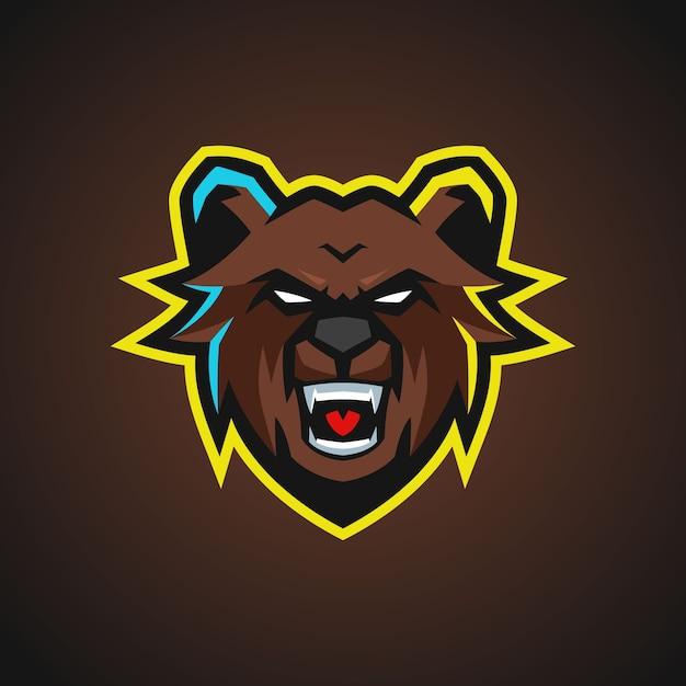 クマのマスコットeスポーツのロゴ Premiumベクター