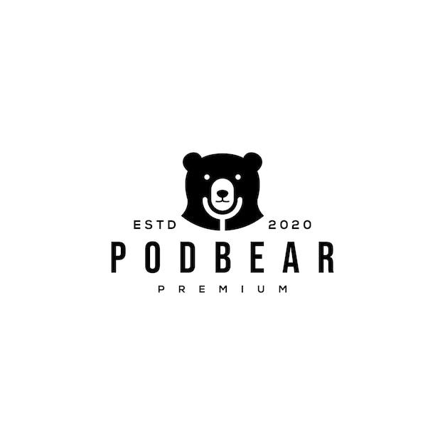 Bear and mic podcast logo Premium Vector