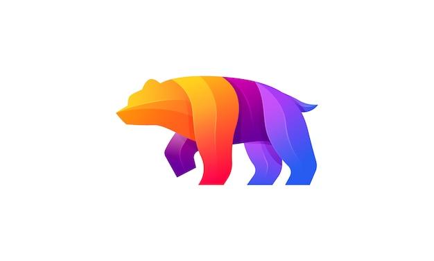 Медведь современный градиент красочный логотип Premium векторы