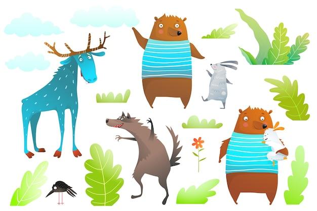 クマ、ムース、ウサギ、オオカミ、森のオブジェクトは子供のためのクリップアートを分離しました。 Premiumベクター