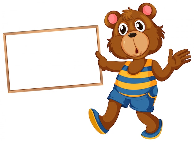 Bear on note banner Free Vector