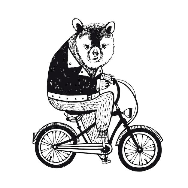 Медведь на велосипеде. винтажная иллюстрация Premium векторы