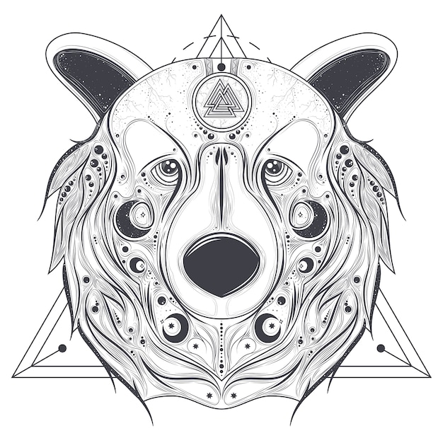 Bear ornamental head with valknut line art vector Free Vector