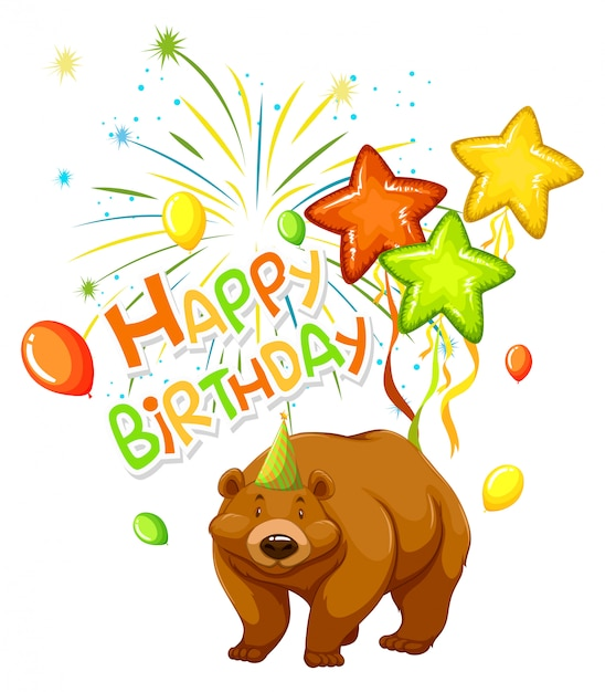 A bear on party template Free Vector