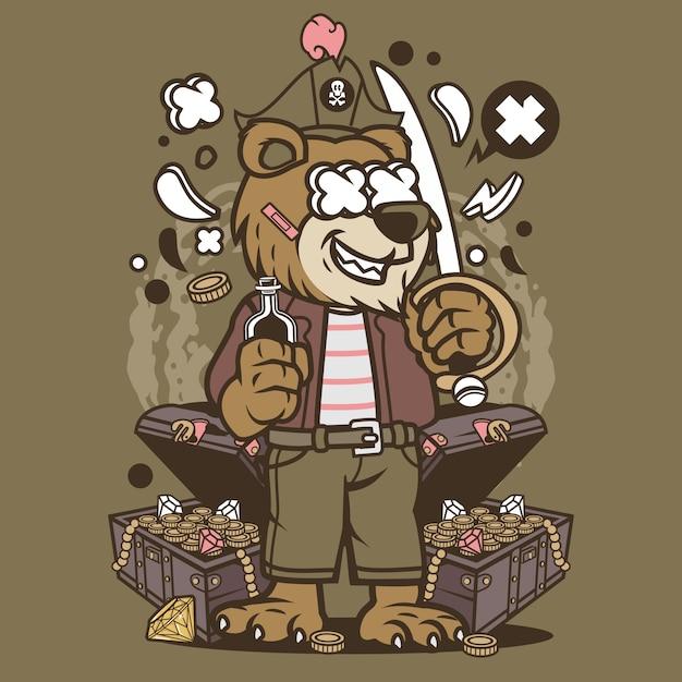 Bear pirate cartoon Premium Vector