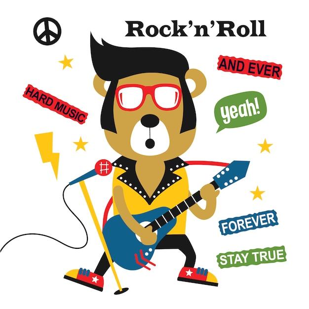Bear playing guitar/rock n roll,funny animal cartoon Premium Vector