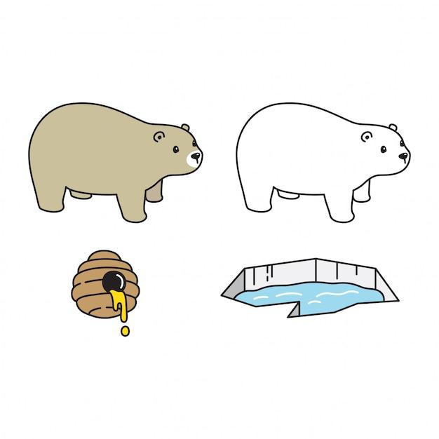 極地蜂蜜氷山キャラクター漫画アイコン Premiumベクター