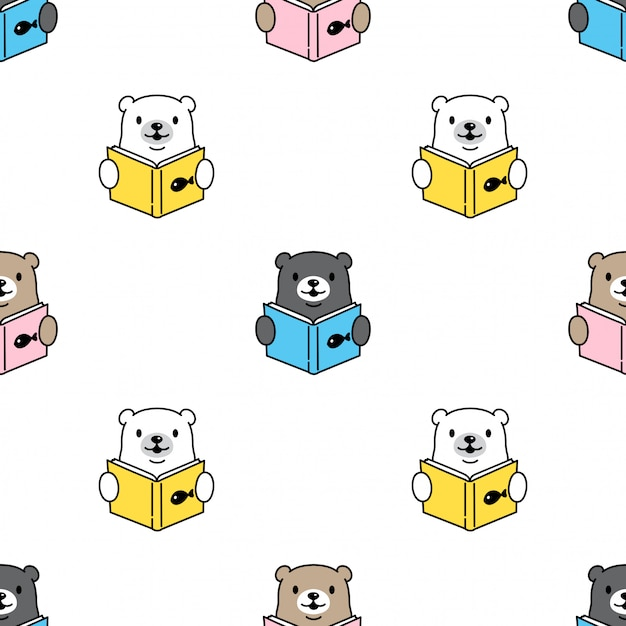 Bear polar seamless pattern reading book Premium Vector