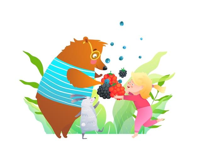 ウサギと小さな女の子が森で野生のベリーを食べる、子供のための漫画。 Premiumベクター
