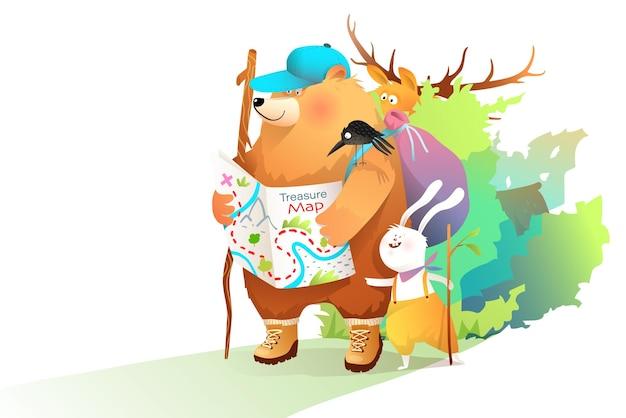 クマのウサギとムースは森の中で地図を持って旅行し、子供たちは自然の中で地図とバックパックを持って動物探検家を旅行します Premiumベクター