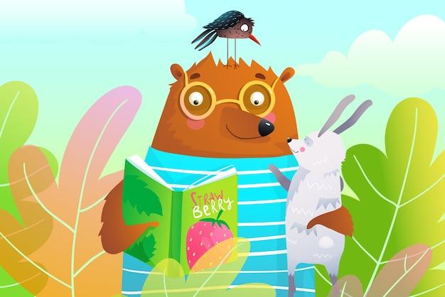 森の中のウサギとカラスに本を読んでクマは子供のためのイラストを残します。 Premiumベクター