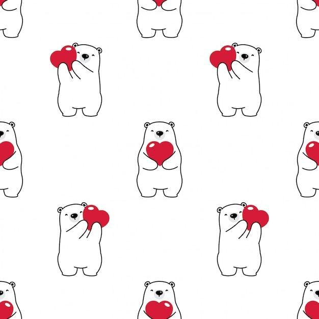 Bear seamless pattern polar heart valentine vector Premium Vector