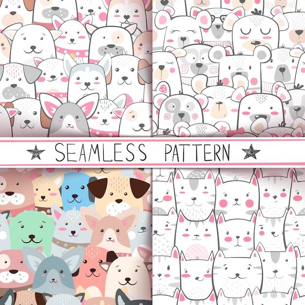 Bear seamless pattern Premium Vector